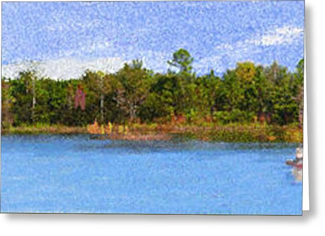 Panorama Of A Lake Greeting Card by Edelberto Cabrera