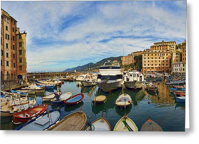 Panorama No 1 Of Camogli Fishing Village On The Italian Rivier Greeting Card