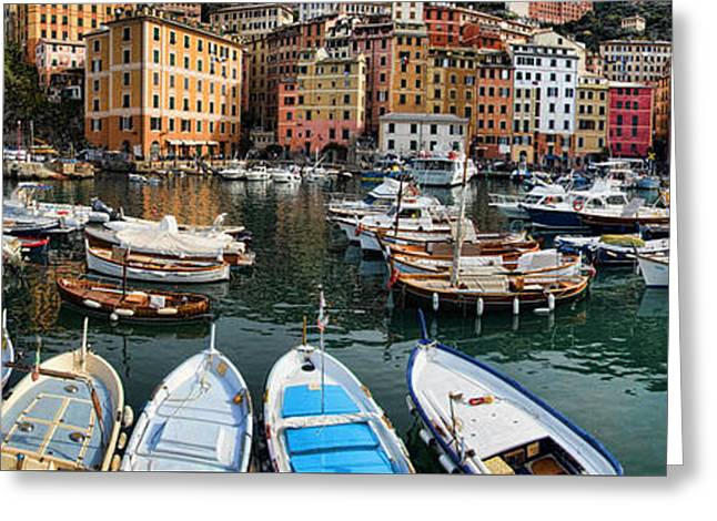 Panorama 2 Of Camogli Fishing Village On The Italian Rivi Greeting Card