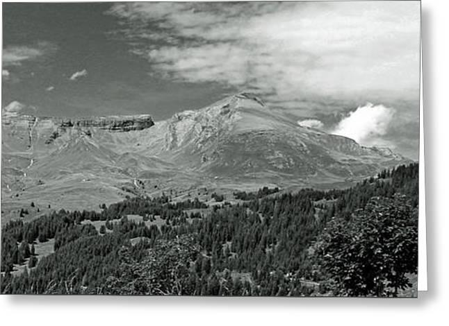 Panorama Alps Switzerland In Black And White Greeting Card