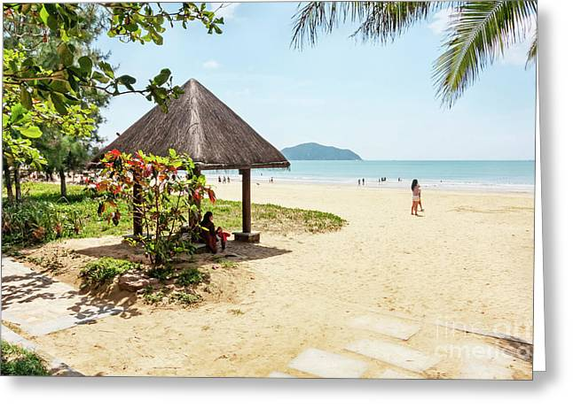 Panorama In Tropical Beach Of Hainan Island Greeting Card