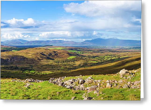 Panorama Of A Colourful Undulating Irish Landscape In Kerry Greeting Card by Semmick Photo