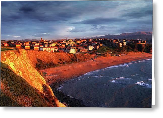 Panorama Of Aixerrota Sunset Greeting Card