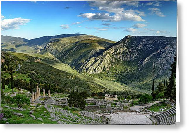 Panorama Of Ancient Delphi And The Temple Of Apollo, Delphi, Greece Greeting Card