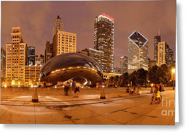 Panorama Of Anish Kapoor Cloud Gate Aka The Bean At Millenium Park - Chicago Illinois Greeting Card by Silvio Ligutti