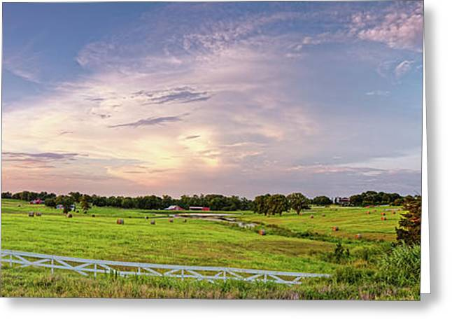 Panorama Of Bales Of Hay In A Field - Chappell Hill Texas Greeting Card