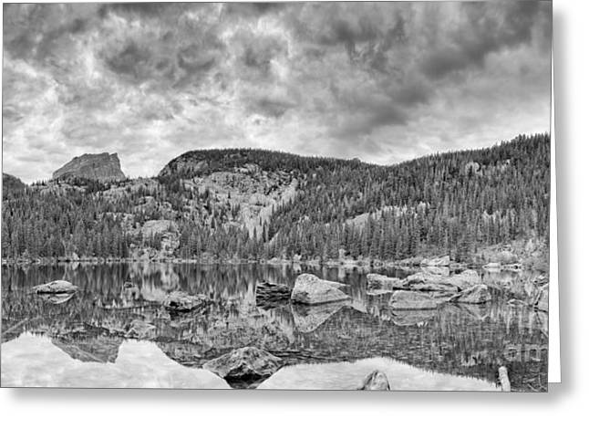 Panorama Of Bear Lake And Halletts Peak In Monochrome - Rocky Mountain National Park Estes Park Colo Greeting Card by Silvio Ligutti