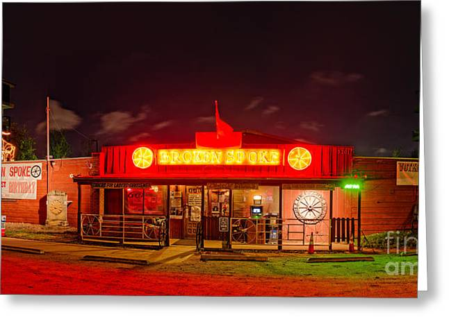 Panorama Of Broken Spoke Honky Tonk And Dance Hall - South Lamar Blvd Austin Texas Greeting Card by Silvio Ligutti