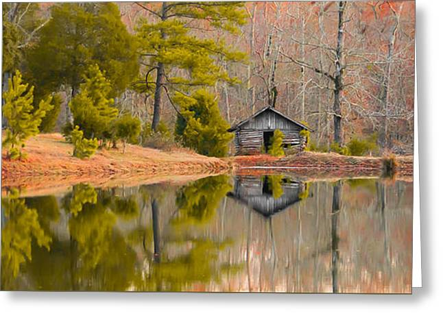 Panorama Of Cabin By The Lake Greeting Card by Shelby  Young