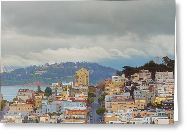 Panorama Of Coit Tower - Yerbabuena Island And Bay Area - San Francisco California Greeting Card by Silvio Ligutti