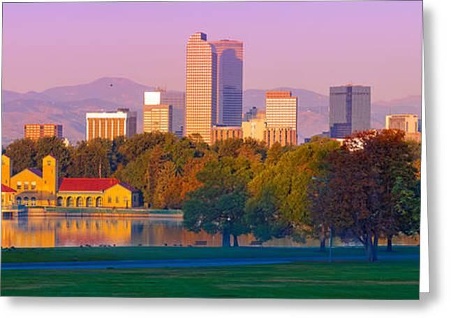 Panorama Of Denver Skyline From Museum Of Nature And Science - City Park Denver Colorado Greeting Card by Silvio Ligutti