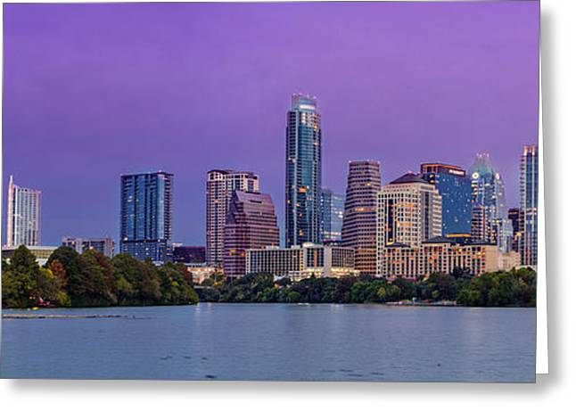Panorama Of Downtown Austin Skyline From The Lady Bird Lake Boardwalk Trail - Texas Hill Country Greeting Card by Silvio Ligutti