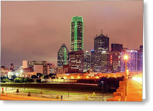 Panorama Of Downtown Dallas Skyline And Reunion Tower From South Houston Street Bridge - North Texas Greeting Card by Silvio Ligutti