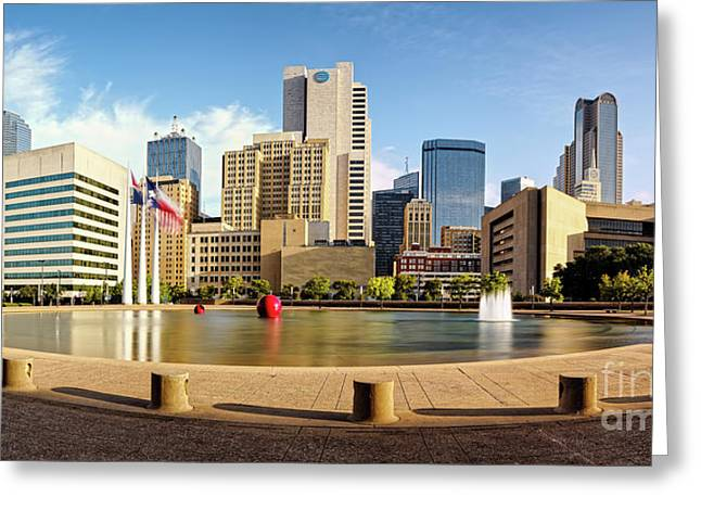 Panorama Of Downtown Dallas Skyline From City Hall - North Texas Greeting Card by Silvio Ligutti