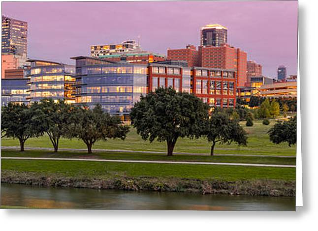 Panorama Of Downtown Fort Worth And Trinity River At Twilight - Dfw North Texas Greeting Card by Silvio Ligutti