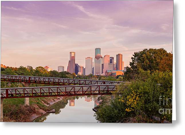 Panorama Of Downtown Houston Skyline From Studemont Drive - Buffalo Bayou Park Houston Texas Greeting Card by Silvio Ligutti