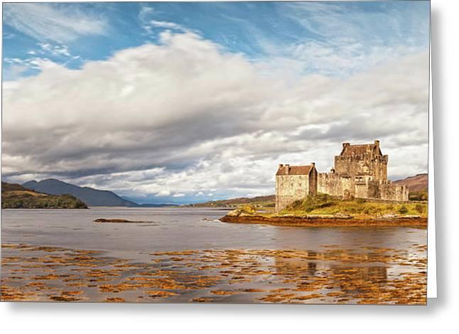 Panorama Of Eilean Donan Castle Scotland Greeting Card