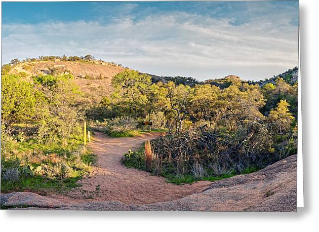 Panorama Of Enchanted Rock State Natural Area Freshman Mountain Turkey Peak - Texas Hill Country Greeting Card by Silvio Ligutti