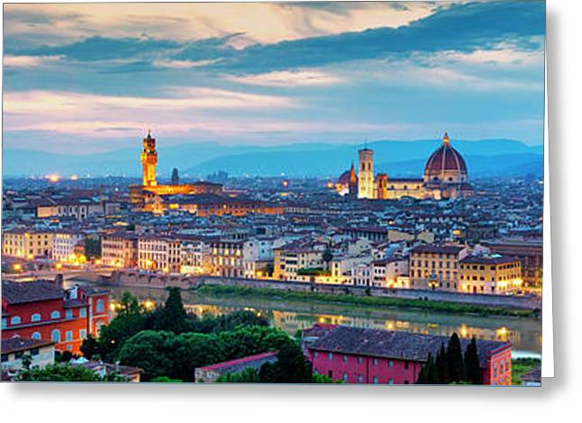 Greeting Card featuring the photograph Panorama Of Florence by Fabrizio Troiani
