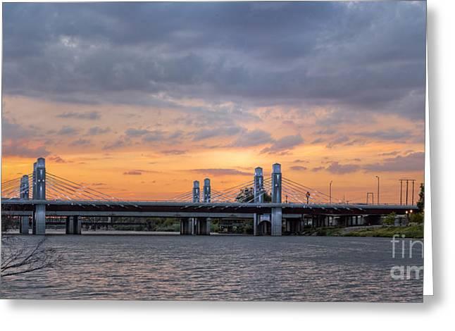 Panorama Of I-35 Jack Kultgen Highway Bridges At Sunset From The Brazos Riverwalk - Waco Texas Greeting Card by Silvio Ligutti