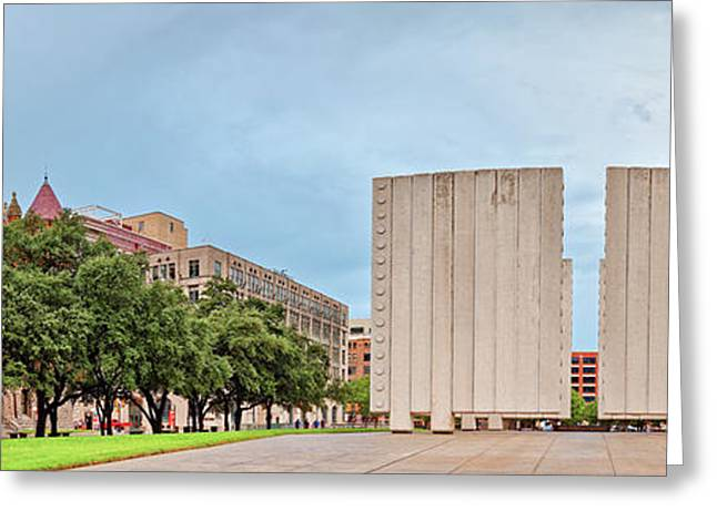 Panorama Of Old Red Museum And Jfk Memorial In Downtown Dallas - West End Historic District - Texas Greeting Card by Silvio Ligutti