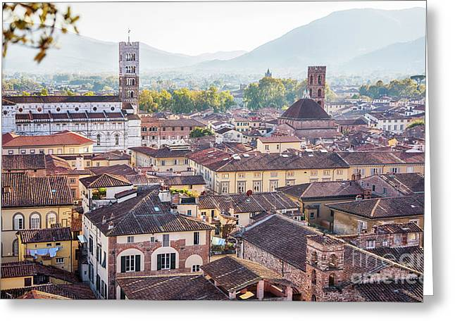 Greeting Card featuring the photograph panorama of old town Lucca, Italy by Ariadna De Raadt
