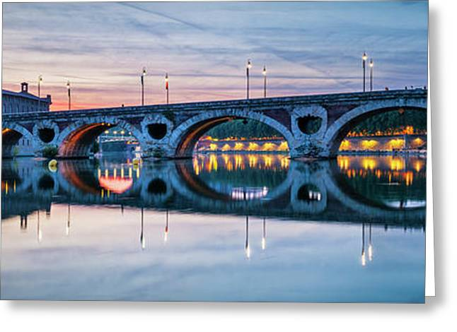 Greeting Card featuring the photograph Panorama Of Pont Neuf In Toulouse by Elena Elisseeva