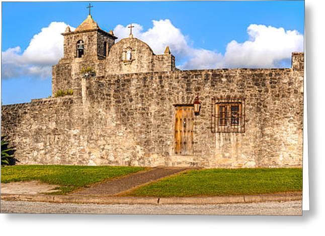 Panorama Of Presidio La Bahia Museum And Loreto Chapel In Goliad - Texas Coastal Bend Greeting Card