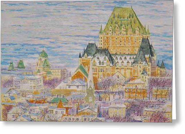 Panorama Of Quebec.2004 Greeting Card by Natalia Piacheva