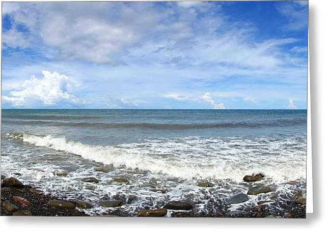 Greeting Card featuring the photograph Panorama Of Rugged Coastline In Taiwan by Yali Shi