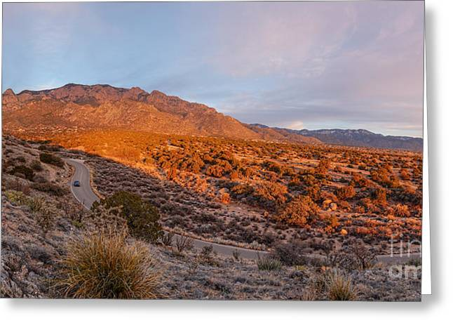 Panorama Of Sandia Mountains At Sunset - Albuquerque New Mexico Greeting Card by Silvio Ligutti