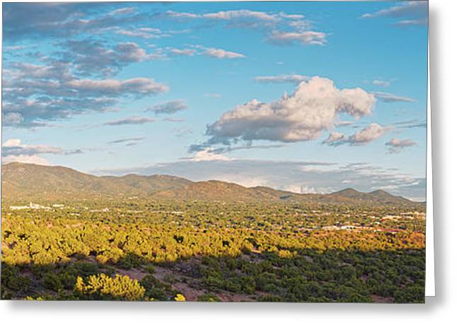 Panorama Of Santa Fe And Sangre De Cristo Mountains - New Mexico Land Of Enchantment Greeting Card