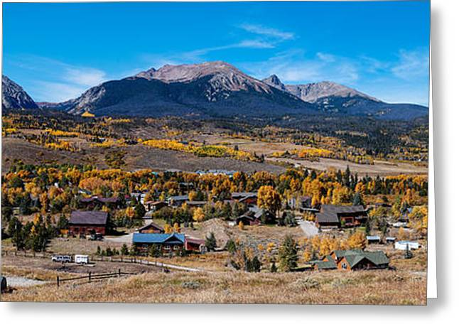 Panorama Of Silverthorne In The Fall - White River National Forest - Rocky Mountains - Colorado Greeting Card by Silvio Ligutti