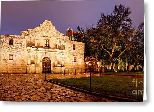 Panorama Of The Alamo In San Antonio At Dawn - San Antonio Texas Greeting Card