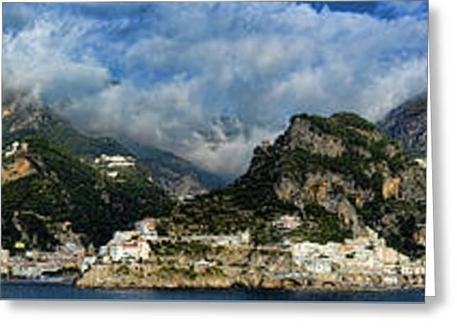 Panorama Of The Amalfi Coastline Greeting Card