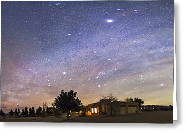 Panorama Of The Celestial Night Sky Greeting Card by Alan Dyer