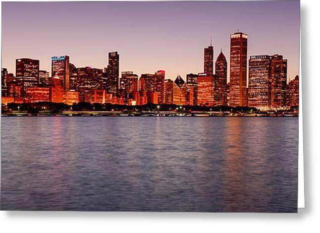 Panorama Of The Chicago Skyline At Twilight From Adler Planetarium - Chicago Illinois Greeting Card by Silvio Ligutti