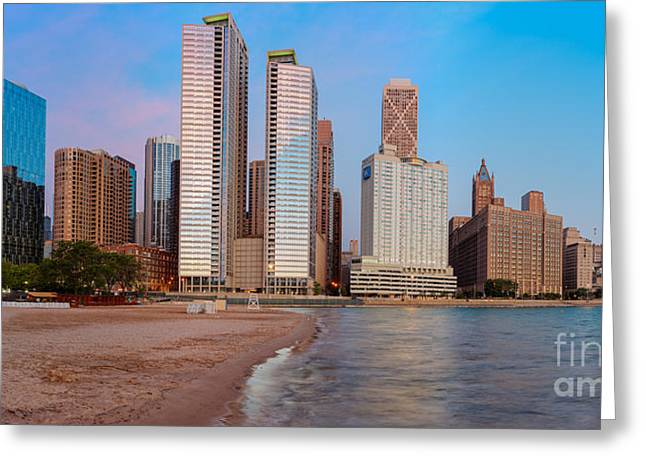 Panorama Of The Chicago Skyline From Milton Lee Olive Park At Sunrise - Chicago Illinois Greeting Card