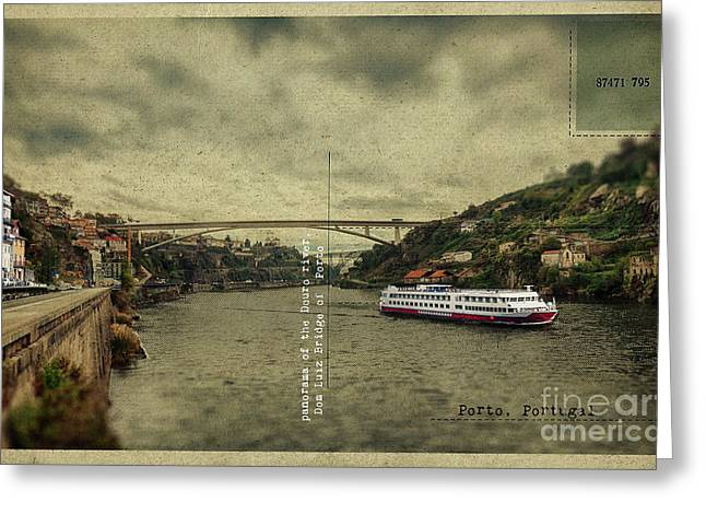 Greeting Card featuring the digital art panorama of the Douro river, Dom Luiz Bridge of  Porto, Portugal by Ariadna De Raadt