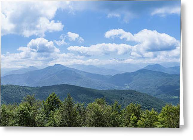 Panorama Of The Foothills Of The Pyrenees In Biert Greeting Card