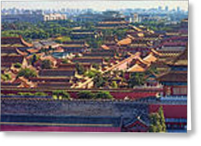 Panorama Of The Forbidden City In Bejing Greeting Card by David Smith