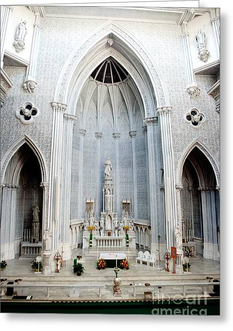 Panorama Of The Main Altar Of St. John The Evangalist Roman Catholic Church Schenectady Greeting Card