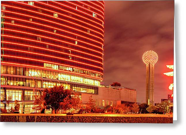 Panorama Of The Original Pegasus, Reunion Tower, And Omni Hotel In Downtown Dallas - North Texas Greeting Card