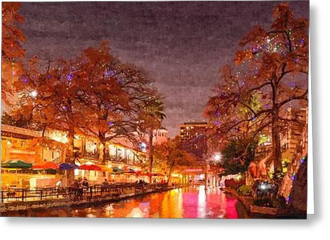 Panorama Of The San Antonio Riverwalk During Christmas - San Antonio Bexar County Texas Greeting Card