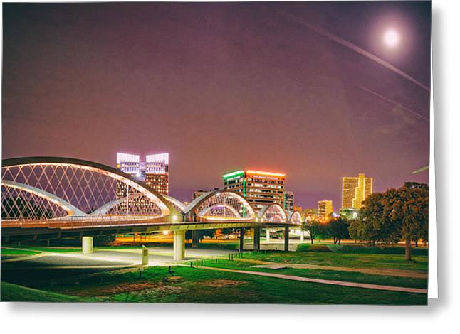 Panorama Of The Seventh Street Bridge And Downtown Fort Worth With Full Moon Above - Trinity River Greeting Card by Silvio Ligutti