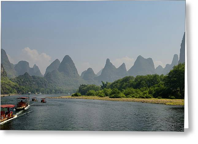 Panorama Of Tour Boat Rafts On The Li River Guangxi China With F Greeting Card