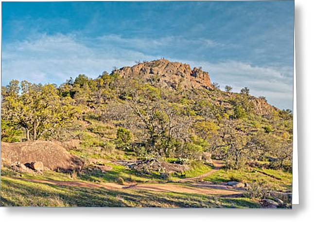 Panorama Of Turkey Peak At Enchanted Rock State Natural Area - Texas Hill Country Greeting Card by Silvio Ligutti