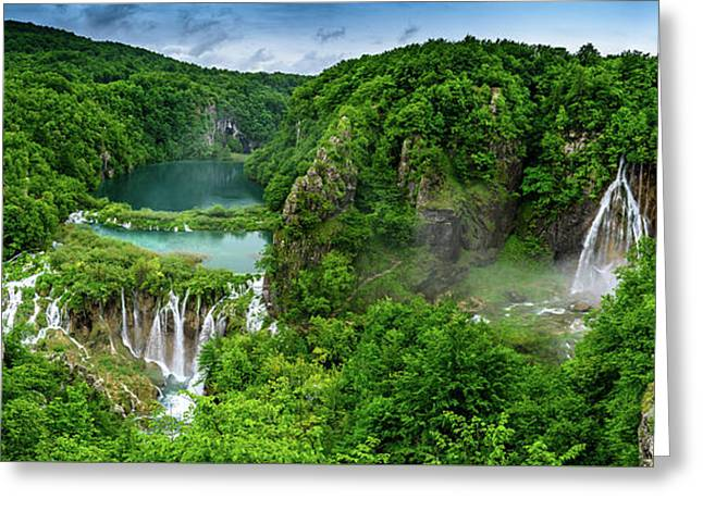 Panorama Of Turquoise Lakes And Waterfalls - A Dramatic View, Plitivice Lakes National Park Croatia Greeting Card