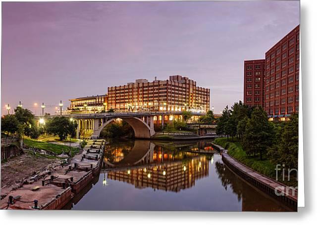 Panorama Of University Of Houston Downtown At Twilight - Reflection On Buffalo Bayou - Houston Texas Greeting Card by Silvio Ligutti