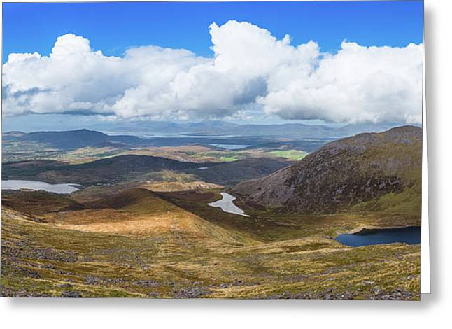 Greeting Card featuring the photograph Panorama Of Valleys And Mountains In County Kerry On A Summer Da by Semmick Photo
